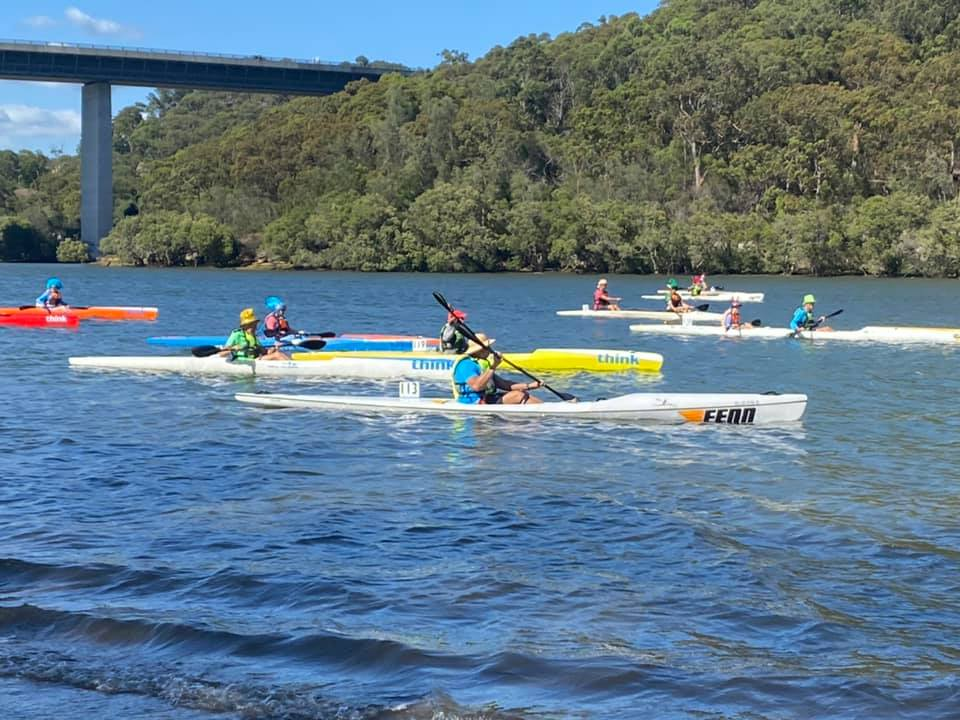 Paddlers lining up for a SSCC 5 km TT on the Woronora River