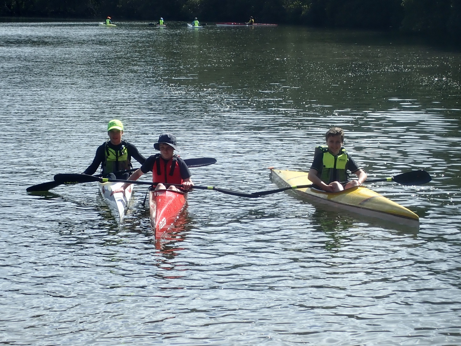 Junior paddlers on the water