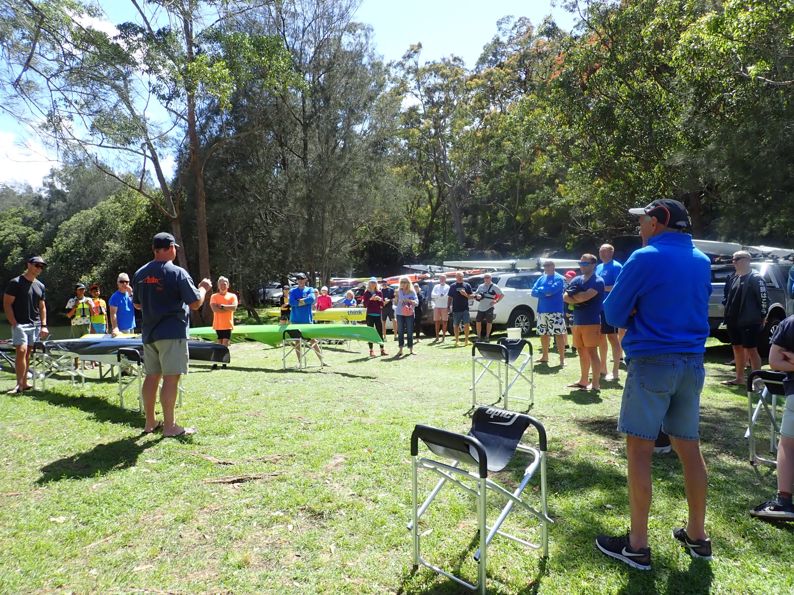 Paddlers gathered for a SSCC TT Race Briefing